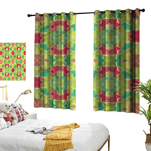Warm Family Abstract Fashionable Curtains Mosaic Cubes Hexagon Privacy Protection 63