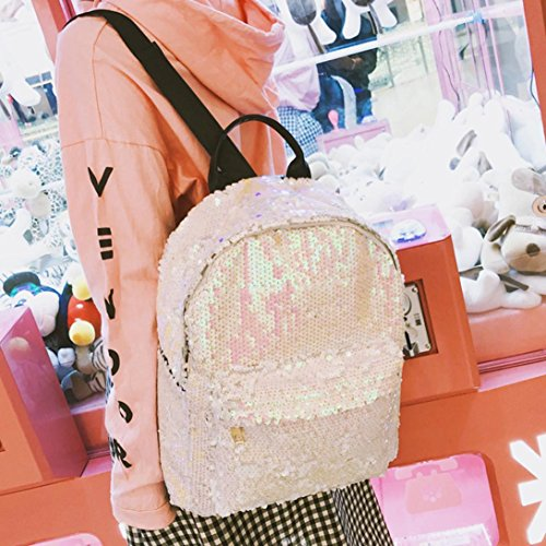 Trave Large Tote Sequins Satchel Bag White School Backpack Fashion Bag Zipper Women Women Shoulder Shiny Girls gwPS8qqA