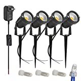 Zuckeo Landscape Lights 12v 24v led Pathway Lights with Low Voltage Transformer Warm White Outdoor Decorative Spotlights for Yard Patio Garden Trees Flags Outdoor Lighting-4 Pack