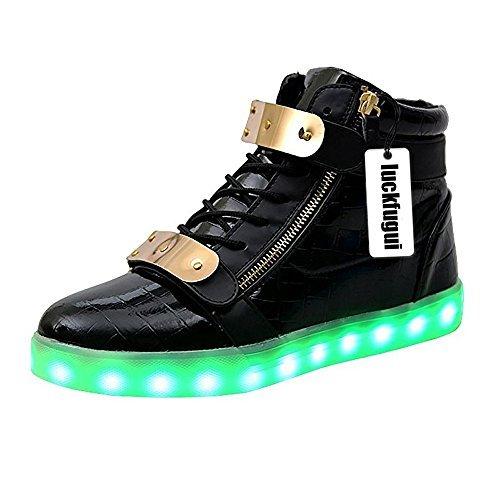 luckfugui Men Women Metal High Top USB LED Light Shoes Flashing Sneakers BK40 Black