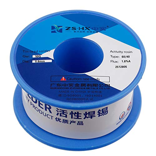 ZSHX 60/40 Tin Lead Rosin core solder wire for electrical soldering (0.6mm 50g)