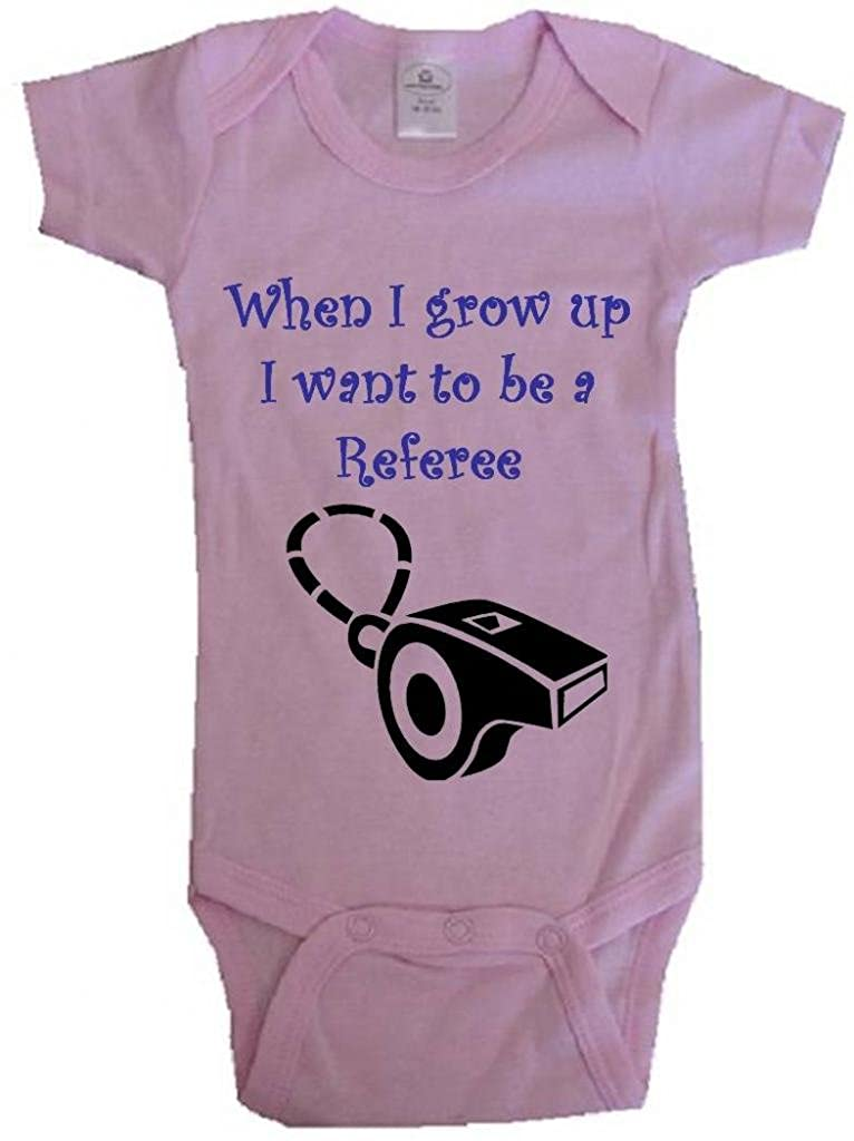 WHEN I GROW UP I WANT TO BE A REFEREE - White, Blue or Pink Baby One Piece Bodysuit
