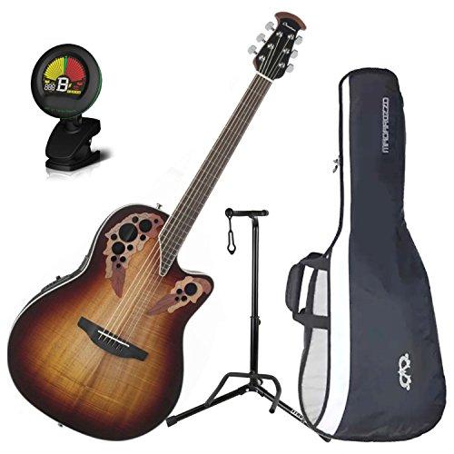 Super Shallow Acoustic Electric Guitar - Ovation CE48P-KOAB Celebrity Elite Plus Super Shallow Koa Burst Acoustic/Electric Guitar with Gig Bag, Stand, and Tuner