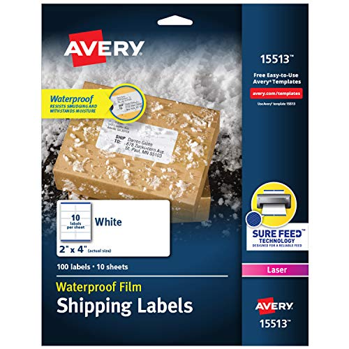 """Avery Waterproof Shipping Labels with Sure Feed & TrueBlock 2"""" x 4"""", 100 White Labels (15513)"""