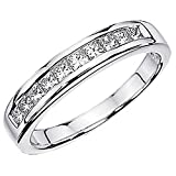 Dazzlingrock Collection IGI CERTIFIED 0.93 Carat (ctw) 14K White Gold Princess Diamond Ladies Anniversary Wedding Stackable Band