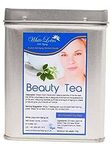 White Lotus Anti Aging-Beauty Tea- White Tea, Jasmine Green Tea, Chrysanthemum & Rose Petals- Premium quality Pyramid Tea Bags/Vacuum Sealed in Beautiful Metal Tin- BY The ANTI AGING EXPERTS 15 Bags
