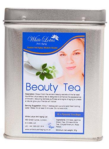 Cheap White Lotus Anti Aging-Beauty Tea- White Tea, Jasmine Green Tea, Chrysanthemum & Rose Petals- Premium quality Pyramid Tea Bags / Vacuum Sealed in Beautiful Metal Tin- BY The ANTI AGING EXPERTS 15 Bags