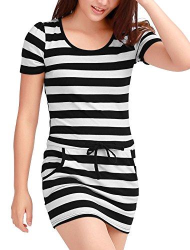 Allegra K Women Two-Tone Stripes Drawstring Waist Mini Dress L Black (Two Tone Drawstring)