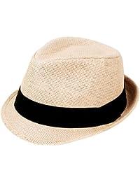 77ca072b Unisex Summer Straw Structured Fedora Hat w/Cloth Band