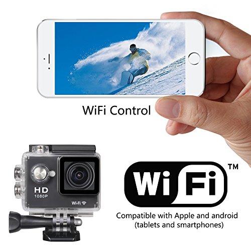 Rocam Action Sport-Kamera Full HD 1080p, W-LAN, 5,1cm, 170° Weitwinkellinse, wasserdicht, Tauchen, Helm, Fahrrad, Auto, Videokamera