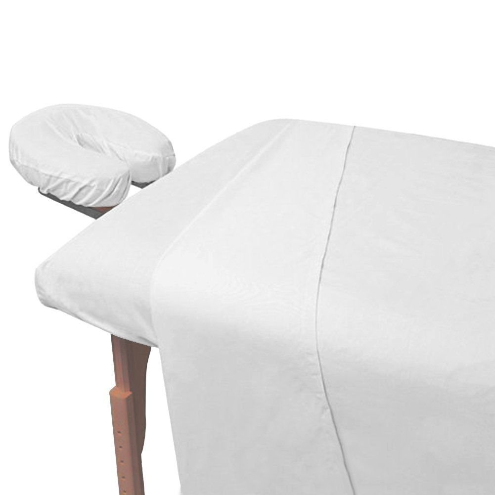 Atlas 2-Piece Economy Massage Table Flat Draw Sheet, Large White Linen, 130 TC 66x104'', Massage Centers - Nursing Homes - Spas - Medical - Massage Tables - Chiropactors - Schools - Cruise Ships