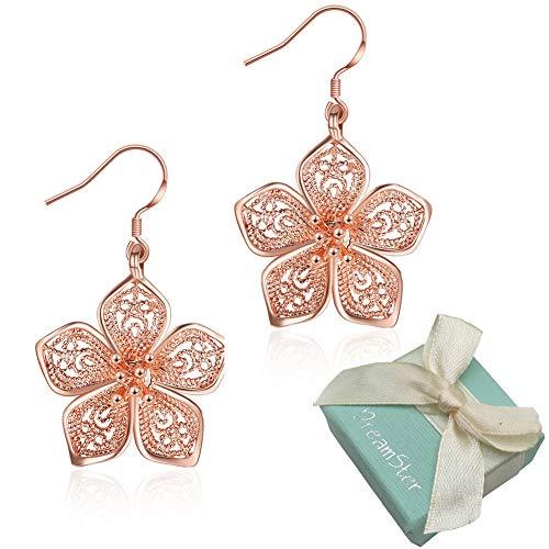 Silver Flower Dangle Earrings for Women Teen Girls Flower Drop Earrings Plated Sterling Silver, by DreamSter (18K Rose Gold Plated)