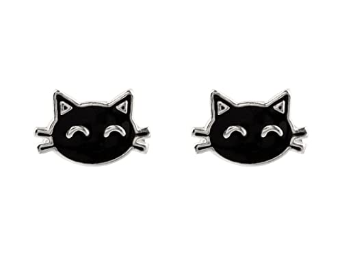 Plata 925 pendientes gato negro esmaltado, gato pendientes plata de ley: Amazon.es: Joyería