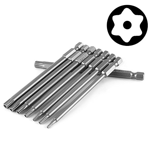 (Yakamoz 8pcs 100mm Length 1/4 Inch Hex Shank Magnetic Torx Security Electric Screwdriver Bits Set)