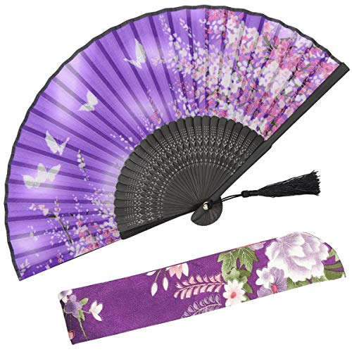 OMyTea Women Hand Held Silk Folding Fans with Bamboo Frame - with a Fabric Sleeve for Protection for Gifts - Sakura Cherry Blossom Pattern (WZS-38)