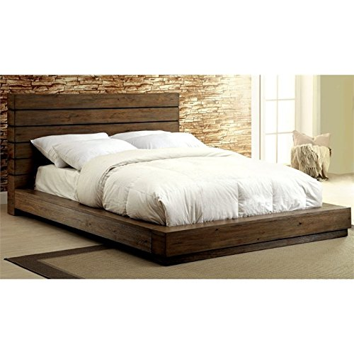 Furniture of America Benjy King Panel Bed in Rustic Natural For Sale