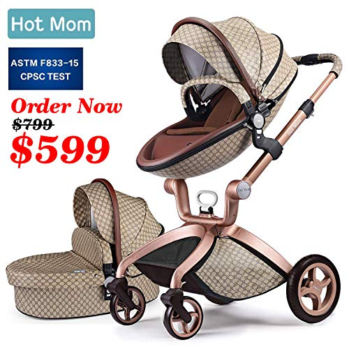 Baby Stroller 2019, Hot Mom New Style 3 in 1 Baby Carriage with Bassinet Combo (Grid) (Best Luxury Stroller 2019)