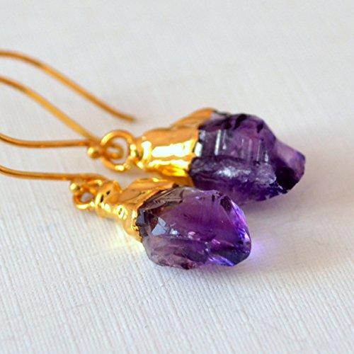 Raw Amethyst Earrings in Gold (Gold Vermeil French Hook)