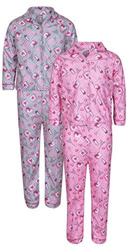 'Sweet & Sassy Girls Flannel Coat-Style Pajamas Set, Paris, Size 10/12 (2 (Coat Style Pajamas)