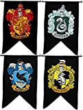 Bundle - 4 items: Harry Potter Gryffindor Slytherin Hufflepuff Ravenclaw House Wall 4 Banner Set