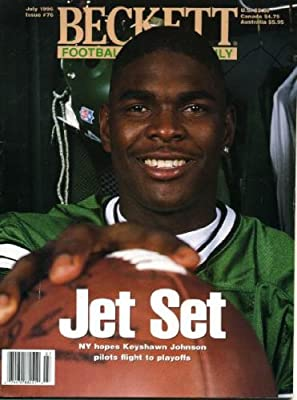 Beckett Football Monthly July 1996 Keyshawn Johnson/New York Jets on Cover, Herman Moore/Detroit Lions (on back cover)