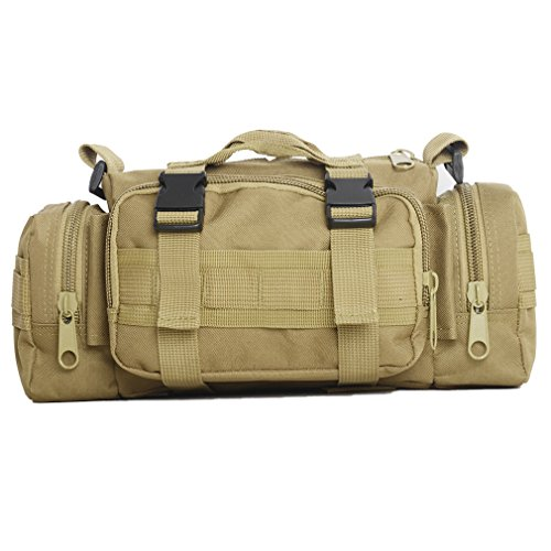 Waist Pack Tactical Deployment Bag Military Gear Molle Duffel Crossbody Backpack Rucksack Messenger Bag Sling Fanny Pack EDC Utility Pouch Bicycle Motorcycle Outdoor Shoulder Bag (Tan) (6 Iphone Airsoft Plus)