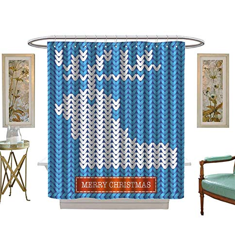 Filigree Christmas Cards - Shower Curtains 3D Digital Printing Merry Christmas Knitted Card,Vector Bathroom Set with Hooks Size:W72 x L96 inch