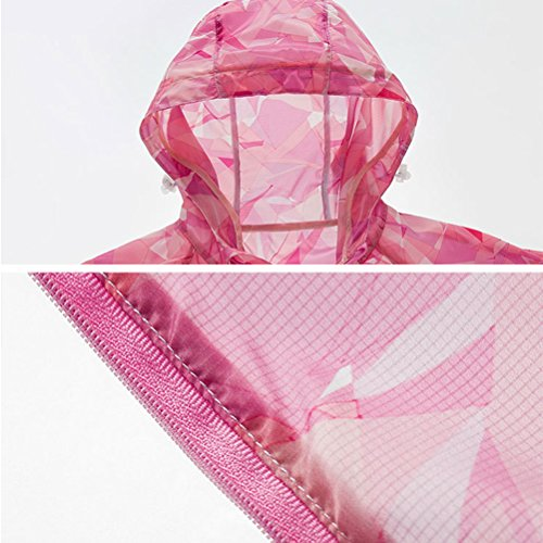 Zhhlinyuan Moda Outdoor Skin Clothing Breathable Sports Couples Pattern Windbreaker Coat Pink