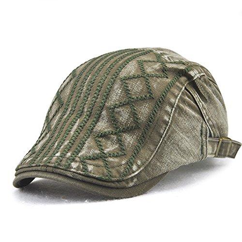 FayTop Men's Knitted Wool Duckbill Hat Warm Newsboy Flat Scally Cap Driving Hats E12624-army Green
