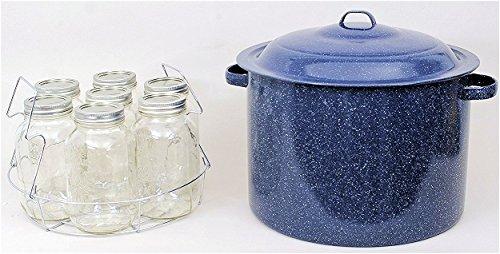 Granite Ware High Capacity Enamel on Steel Water Bath Canner with Chrome Jar Rack, Blue by Granite Ware (Image #3)