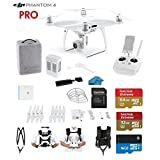 DJI Phantom 4 PRO Quadcopter Drone with 1-inch 20MP 4K Camera KIT + SanDisk 64/32GB Micro SDXC Cards + Universal Card Reader 3.0 + Snap on Prop Guards + Carry Strap System + Koozam Cleaning Cloth