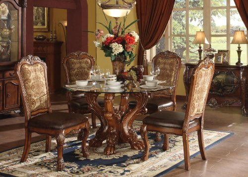 ACME 60010 Dresden Dining Table, Cherry Oak Finish