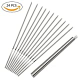 Ansuyai BBQ Barbecue Skewers (Set of 24),Stainless Steel Flat Metal Grilling Skewers Set, Reusable BBQ Sticks with Portable Skewer Container Tube