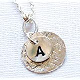 Initial Necklace Letter Pendant Sterling Silver Monogram Circle Personalized Charm Mom Mothers Day