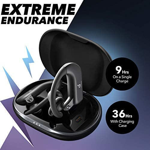 Anker Soundcore Spirit X2, True Wireless Earbuds, Body-Moving Bass, IP68 Sweatproof, 36H Playtime, Fast Charge, Secure Earhooks, Bluetooth 5, CVC 8.0 Clear Calls, Sports Earphones for Gym, Sport