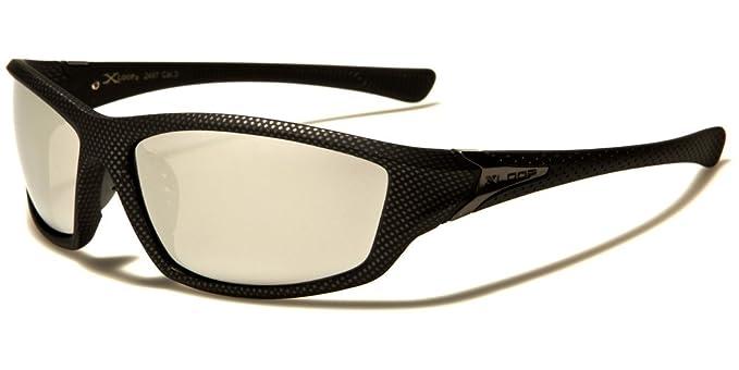 Sport Sonnenbrille Damen Herren Schwarz Weiß Silber verspiegelte Gläser X-Loop R83RZ