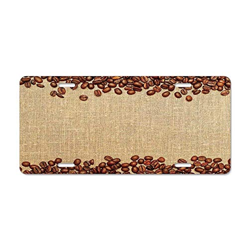 Brown Designer Vanity - FloralFlames Modern,Coffee Beans Backround Home and Cafe Designer Decoration Collection Straw,Brown CreamCustom Personalized License Plate Cover Vanity, Novelty Car Accessories