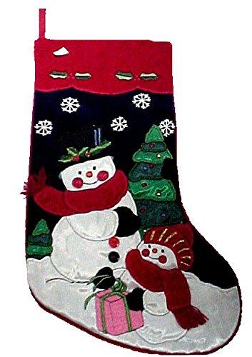 United Mask & Party Gorgeous Christmas Holiday Velvet and Satin Stocking Snowmen #HP99178