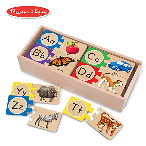 Melissa & Doug Self-Correcting Alphabet Letter Puzzles, Developmental Toys, Wooden Storage Box, Detailed Pictures, 52 Pieces, 3″ H × 13.75″ W × 5.75″ L]()