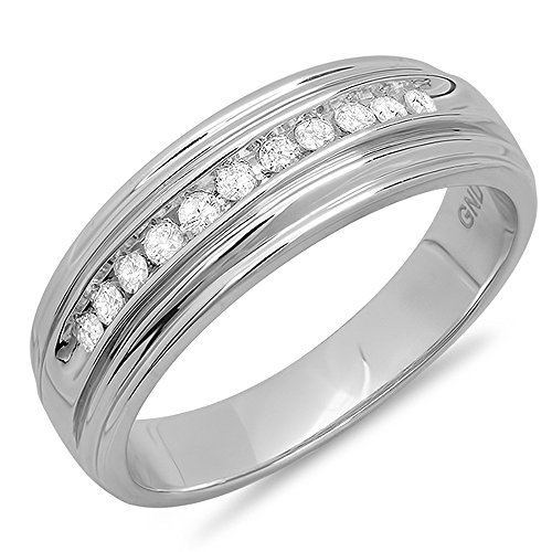 Dazzlingrock Collection 0.25 Carat (ctw) Round Diamond Men's Anniversary Wedding Band 1/4 CT, Sterling Silver ()