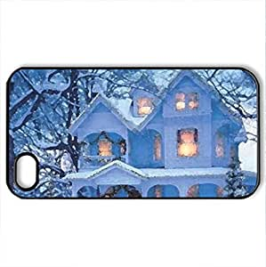 Winter House - Case Cover for iPhone 4 and 4s (Houses Series, Watercolor style, Black) by icecream design