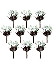 AUPSU 10 Pieces Christmas Berries Stems Evergreen Pine Branches, Christmas Picks Spray Artificial Pine Cones Holly Stem Craft, for Decoration DIY Xmas Garland Wreath Ornaments