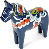 Traditional Wooden Swedish Dala Horse - Blue 7'' (17cm)