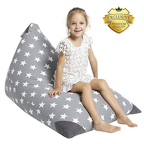 Aubliss Stuffed Animal Storage Bean Bag Chair - Plush Animal Toy Organizer for Kids, Girls and Children | Extra Large | 23 Inch Long YKK Zipper | Premium Cotton Canvas ()