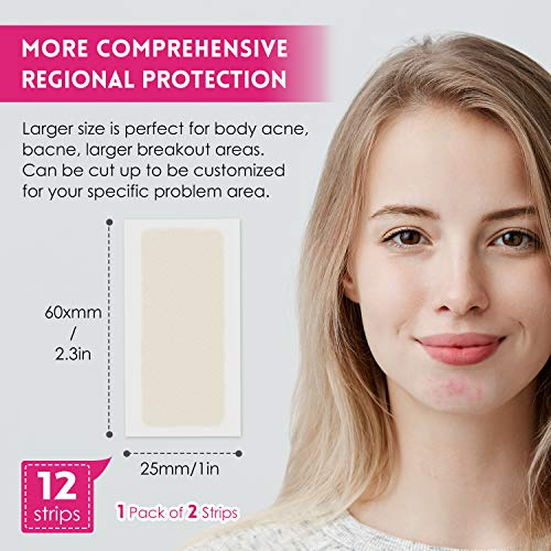Acne Pimple Master Patch, Large Acne Patches Spot Treatment, Acne Dots, Pimple Stickers,12 Strips, Invisible, Tea Tree oil, Zit Patch