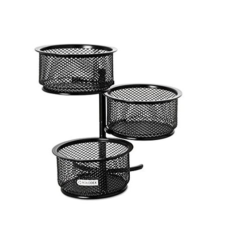 - Rolodex Mesh Collection 3-Tier Swivel Tower Sorter, Black, 4 Packs