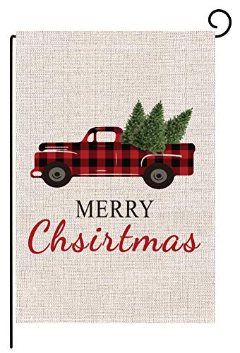 COCOWELL Christmas Garden Flag Flags, Christmas Yard Flag, Red Truck with Christmas Tree, House Flags Rustic Winter Garden Yard Decorations, New Year Christmas Garden Flags 12 x 18 Double Sided Prime (Flags Small Yard Christmas)