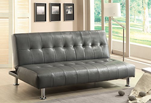 Furniture of America Botany Leatherette Convertible Sofa, Gray