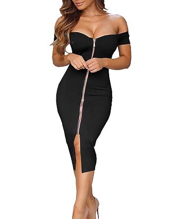 d91d185cc01 Ninimour Robe Moulante Fendue Mi Longue Fermeture Éclair Devant Épaule  Dénudée Femme Noir XL