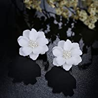 wanmanee Simulated Pearl Big White Rose Flower Stud Earrings Inlay Beads Jewelry Gift Hot